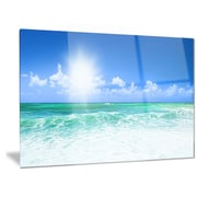 DesignArt Metal 'Beautiful Blue Beach' Photographic Print; 12'' H x 28'' W