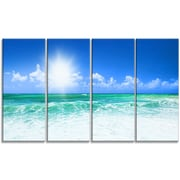 DesignArt Metal 'Beautiful Blue Beach' Photographic Print; 28'' H x 48'' W