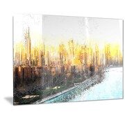 DesignArt Metal 'Abstract Sunset Cityscape' Graphic Art; 12'' H x 28'' W