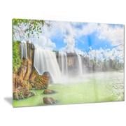DesignArt Metal 'Dry Nur Waterfall' Graphic Art; 12'' H x 28'' W