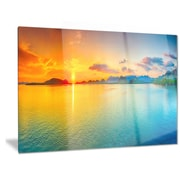 DesignArt 'Bright Sunset Panorama' Photographic print; 12'' H x 28'' W