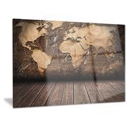 DesignArt 'Vintage Map w/ Wooden Floor' Graphic Art; 12'' H x 28'' W