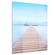 DesignArt 'Wooden Pier in Cold Atmosphere' Photographic Print; 28'' H x 36'' W