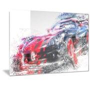 DesignArt 'Red and Black Sports Car' Graphic Art; 12'' H x 28'' W