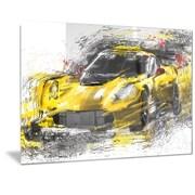 DesignArt 'Black and Yellow Speedster' Graphic Art; 12'' H x 28'' W