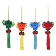 Novica Thikaporn 4 Piece Artisan Crafted Thai Cotton Elephant Ornament Set