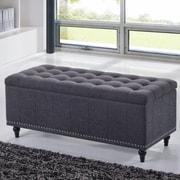 Wholesale Interiors Baxton Studio Luca Upholstered Storage Bedroom Bench; Dark Gray