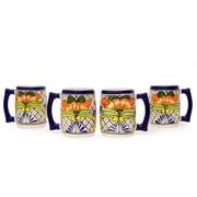 Novica Pedro Alba Mexico Handcrafted Floral 23 Oz Ceramic Beer Mug (Set of 4)