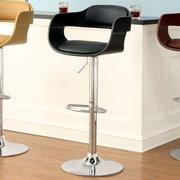 Hokku Designs Ryanne Adjustable Height Swivel Bar Stool with Cushion; Black