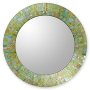 Novica Glass Tile Round Wall Mirror; Turquoise Sunset