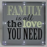 Fetco Home Decor Light Up Family Love Textual Art Plaque