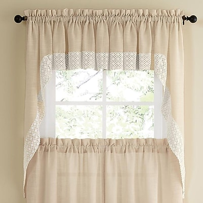 Sweet Home Collection Salem Kitchen Swag Curtain Valance (Set of 2); French Vanilla WYF078278168113