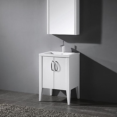 Madeli Caserta 24'' Single Bathroom Vanity Set; Glossy White