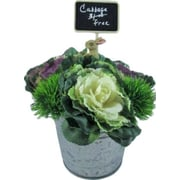Silkmama Cabbages and Bunny in Metal Hanger Bucket Faux Floral
