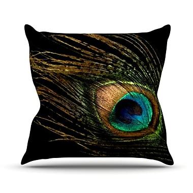 KESS InHouse Peacock Throw Pillow; 18'' H x 18'' W