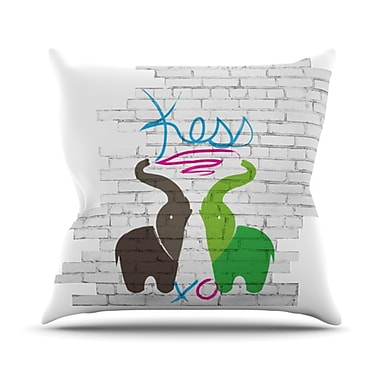 KESS InHouse Elephants Throw Pillow; 18'' H x 18'' W x 4.1'' D