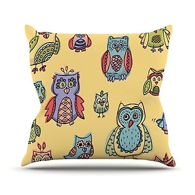 KESS InHouse Owls Throw Pillow; 18'' H x 18'' W