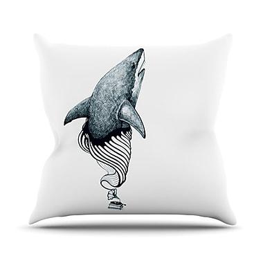 KESS InHouse Shark Record Throw Pillow; 26'' H x 26'' W x 5'' D