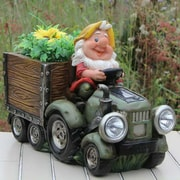 Sintechno Inc Solar Powered Gnome Truck Statue