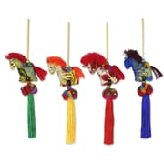 Novica Thikaporn 4 Piece Artisan Crafted Thai Cotton Horse Ornament Set