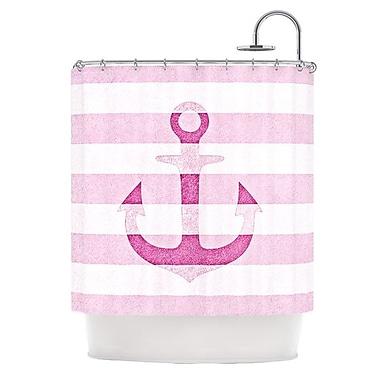 KESS InHouse Stone Vintage Anchor Shower Curtain; Pink