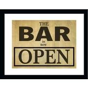 PENL Man Cave 'Bar is Open' Framed Textual Art