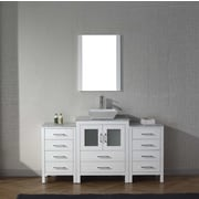 Virtu Dior 64'' Single Bathroom Vanity Set with Mirror and Marble Top; White