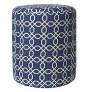 Jennifer Taylor Tracy Round Ottoman; Blue & White