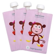 Sage Spoonfuls Sage Squeezie 7 Oz. Reusable Food Pouch (Set of 3); Monkey
