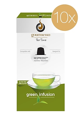 Gourmesso Coffee, Green Infusion TEA pods 10pack, 100 Nespresso compatible tea capsules (20332)