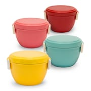 San Yoshi Bento 18 Oz. Bowl Lunch Box (Set of 4); Yellow / Rose Pink / Mint Blue / Red
