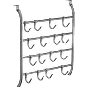 Lynk Over Door 16 Adjustable Hook Accessory, Scarf, & Jewelry Organizer; Platinum
