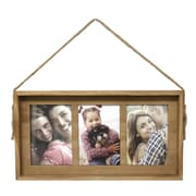 Fetco Home Decor Bolden Wood and Rope Triple Photo Wall Collage Picture Frame
