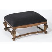 AA Importing Velvet Top Ottoman; Walnut/Black