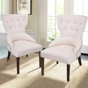 AdecoTrading Fabric Living Room Arm Chair (Set of 2); Nature