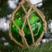 Handcrafted Nautical Decor Glass and Rope Fishing Float Christmas Tree Ornament; Green