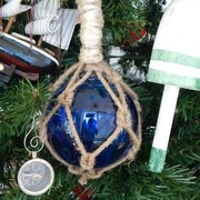 Handcrafted Nautical Decor Glass and Rope Fishing Float Christmas Tree Ornament; Blue