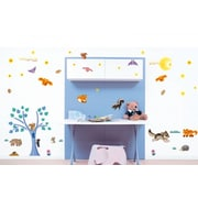 Smart Deco 77 Piece Wood Animals Wall Decal