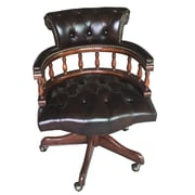 EasternLegends Mid-Back Leather Bankers Chair; Brown