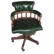 EasternLegends Leather Bankers Chair; Green