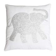 Thro Elazar Elephant Sequined Throw Pillow; Bright White Silver