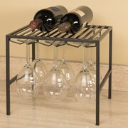 Seville Classics Stemware Holder and Shelf 2 Bottle Floor Wine Rack; Gun Metal