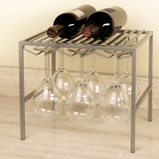 Seville Classics Stemware Holder and Shelf 2 Bottle Floor Wine Rack; Platinum