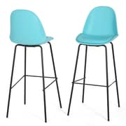 Home Loft Concepts Shawn 31.5'' Bar Stool with Cushion (Set of 2); Light Blue