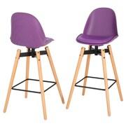 Home Loft Concepts Donahugh 30'' Bar Stool with Cushion (Set of 2); Purple