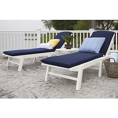 POLYWOOD Nautical 3 Piece Chaise Set w/ Cushions