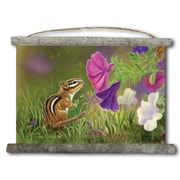 WGI GALLERY 'Chipmunk in the Garden' Painting Print on White Canvas