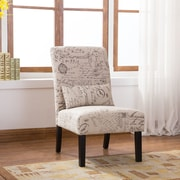 Roundhill Furniture Pisano English Letter Print Fabric Armless Contemporary Side Chair
