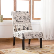Roundhill Furniture Pisano Script Linen Print Fabric Armless Contemporary Side Chair