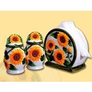 ABCHomeCollection 3 Piece Sunflower Ceramic Salt/Pepper Shaker Napkin Set